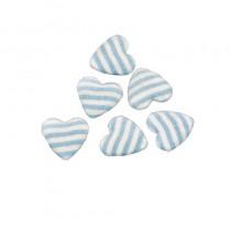 déco baptême coeur rayé bleu pastel 2,6 cm