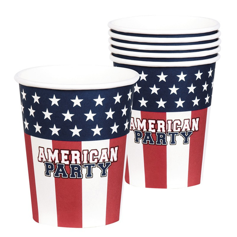 6 GOBELETS AMERICAN PARTY 25 CL
