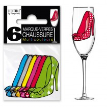 6 MARQUES VERRE CHAUSSURE MULTICOULEURS