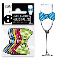 6 MARQUES VERRE NOEUD PAPILLON MULTI