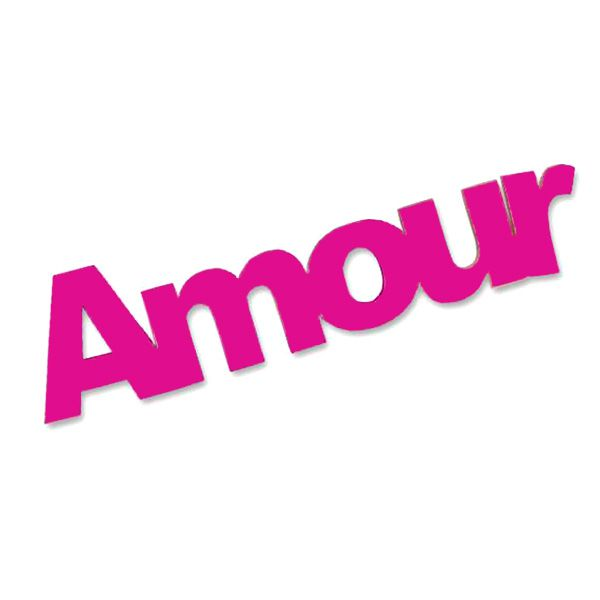 6 MINI AMOUR SUR STICKER - FUCHSIA