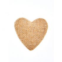6 STICKER COEUR LIN NATUREL 2,5 CM