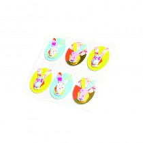 6 STICKERS LAPINS GRAPHIQUE 4.5 X 3 CM