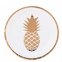 8 ASSIETTES ANANAS OR 23CM