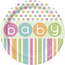 8 ASSIETTES CARTONS BABY SHOWER