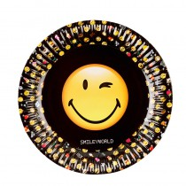 8 ASSIETTES EN CARTON SMILEY EMOTICONES 23 CM