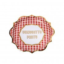 8 ASSIETTES GUINGUETTE PARTY VICHY 23CM ROUGE OR