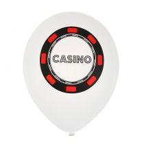 8 BALLONS EN LATEX POKER BLANC
