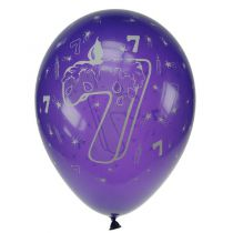 8 BALLONS LATEX OPAQUES AVEC CHIFFRE 7