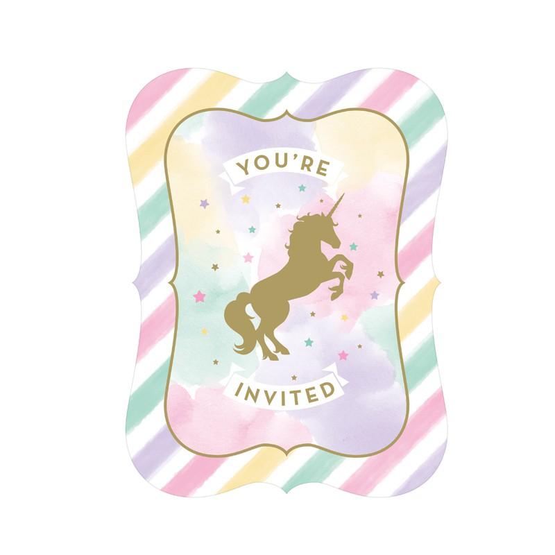 8 CARTES D\'INVITATION LICORNE ÉCLATANTE