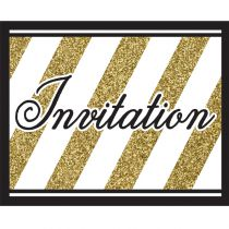 8 CARTONS INVITATIONS - NOIR ET OR