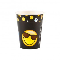 8 GOBELETS CARTON SMILEY EMOTICONES 266 ML