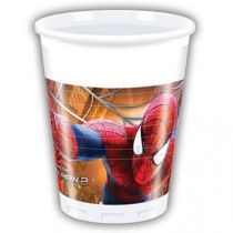 8 GOBELETS EN PLASTIQUE SPIDERMAN WW