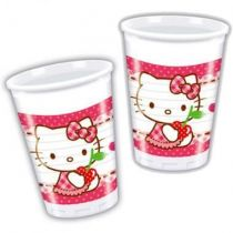 8 GOBELETS PLASTIQUE HELLO KITTY