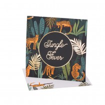 8 INVITATIONS JUNGLE FEVER 14X14CM