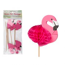 8 PICS COCKTAIL FLAMANT ROSE 18 CM