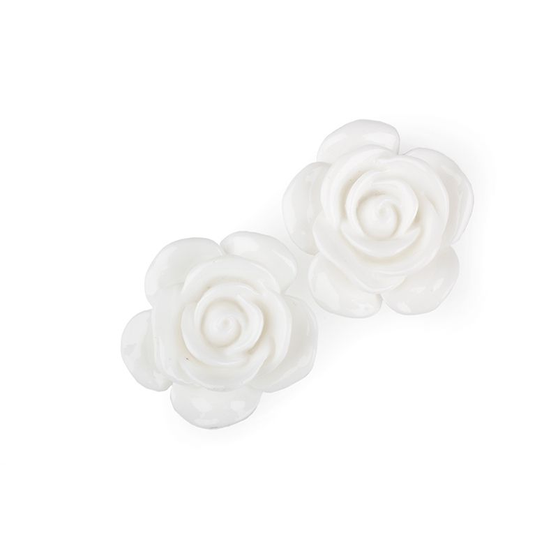 8 ROSES ACRYLIQUE BLANCHES 3 CM
