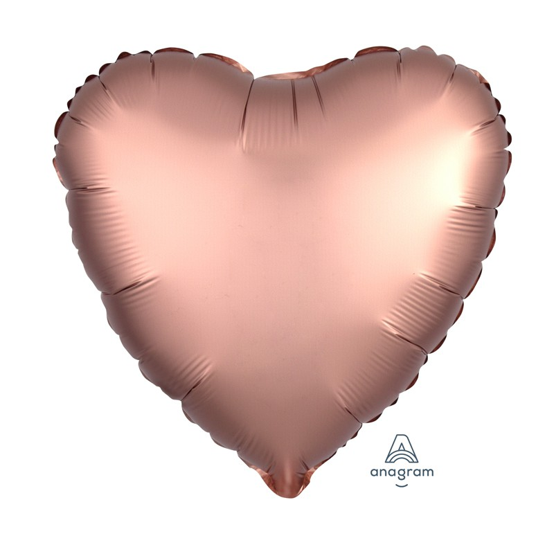 BALLON ALU CŒUR 43CM ROSE GOLD SATINÉ