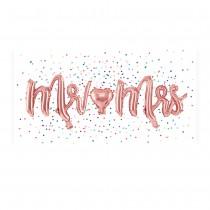 BALLON ALU MARIAGE MR MRS OR ROSE 69X125CM