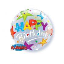 BALLON BULLE 55 CM BIRTHDAY STARS QUALAT