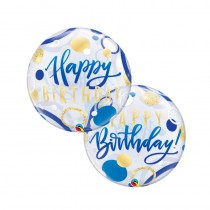 BALLON BULLE BIRTHDAY 55CM OR ET BLEU