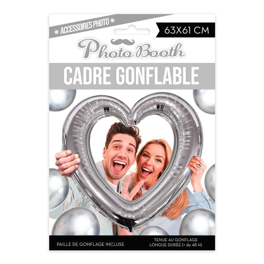 BALLON CADRE PHOTOBOOTH COEUR ARGENT
