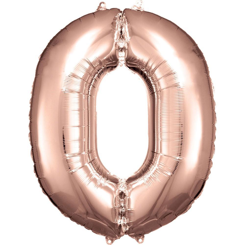 BALLON CHIFFRE 0 DE 88CM ROSE GOLD