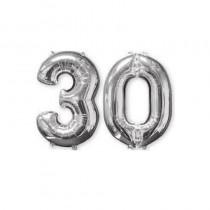 BALLON CHIFFRE 30 ARGENT 66CM
