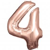 BALLON CHIFFRE 4 DE 88CM ROSE GOLD