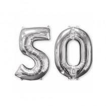 BALLON CHIFFRE 50 ARGENT 66CM