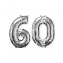 BALLON CHIFFRE 60 ARGENT 66CM