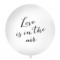 BALLON GÉANT 1M BLANC LOVE IS IN THE AIR NOIR