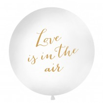 BALLON GÉANT 1M BLANC LOVE IS IN THE AIR OR