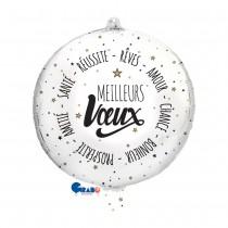 BALLON MEILLEURS VOEUX BLANC 48 CM