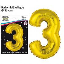 BALLON METALLIQUE OR CHIFFRE 3