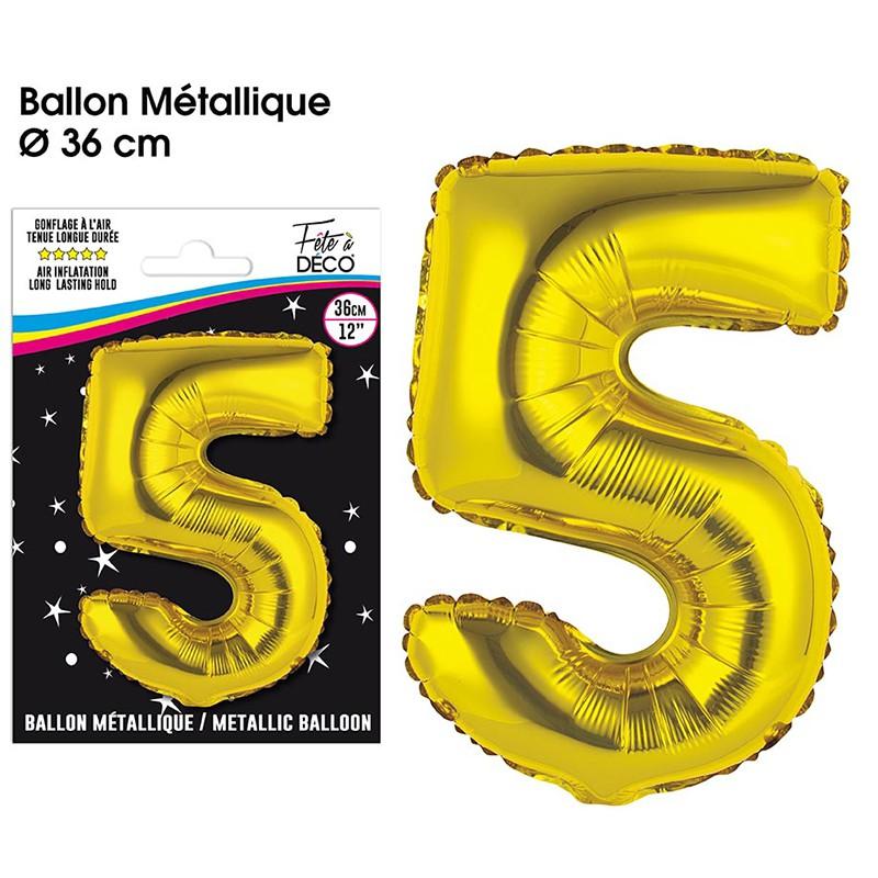 BALLON METALLIQUE OR CHIFFRE 5