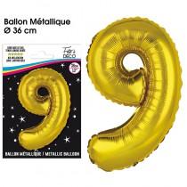 BALLON METALLIQUE OR CHIFFRE 9