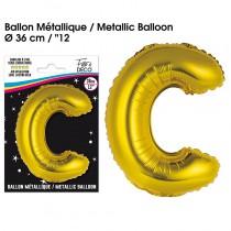 BALLON METALLIQUE OR LETTRE C