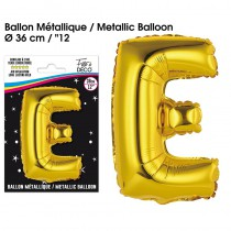 BALLON METALLIQUE OR LETTRE E