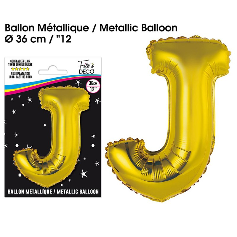 BALLON METALLIQUE OR LETTRE J