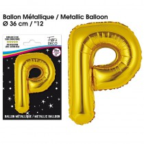 BALLON METALLIQUE OR LETTRE P