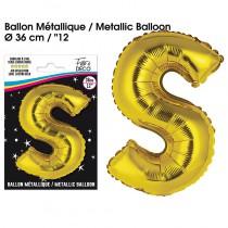 BALLON METALLIQUE OR LETTRE S