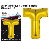 BALLON METALLIQUE OR LETTRE T