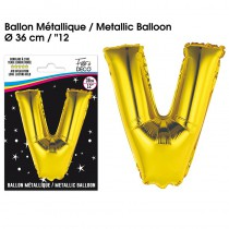 BALLON METALLIQUE OR LETTRE V
