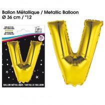 BALLON METALLIQUE OR LETTRE V
