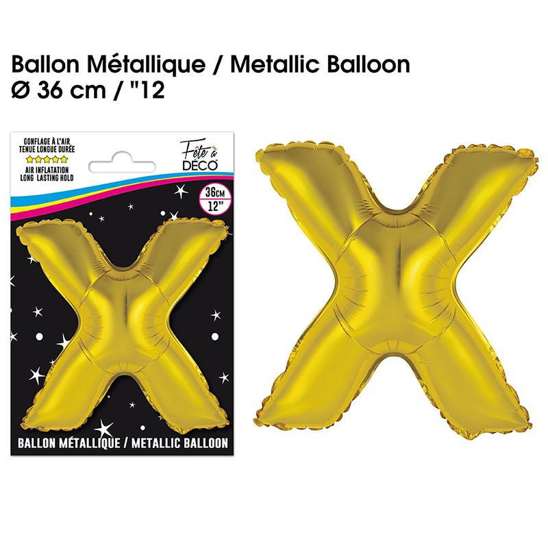 BALLON METALLIQUE OR LETTRE X