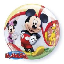 BALLON TYPE BUBBLE 56CM MICKEY + HELIUM
