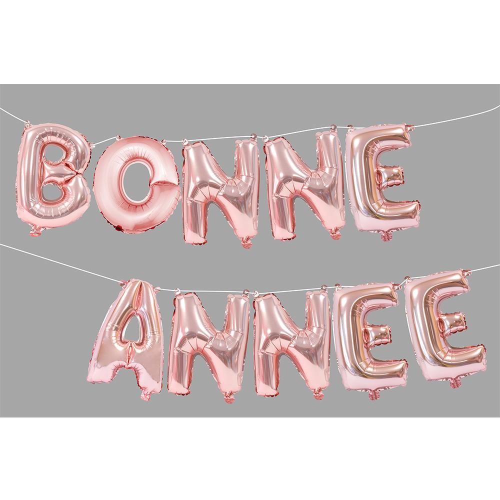 BALLONS LETTRES BONNE ANNÉE ROSE GOLD 36CM