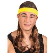 Bandeau jaune avec cheveux année 80