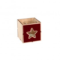 BOUGEOIR CUBE VELOURS ROUGE 8X8CM